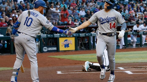 <p>               Los Angeles Dodgers' Enrique Hernandez (14) celebrates his home run against the Arizona Diamondbacks with Dodgers' Justin Turner (10) during the first inning of a baseball game, Tuesday, June 25, 2019, in Phoenix. (AP Photo/Ross D. Franklin)             </p>