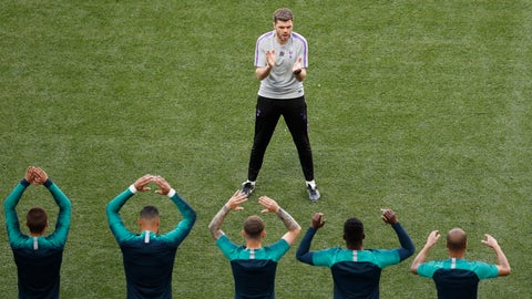 <p>               Tottenham players stretch during a training session at the Wanda Metropolitano stadium in Madrid, Friday May 31, 2019. English Premier League teams Liverpool and Tottenham Hotspur are preparing for the Champions League final which takes place in Madrid on Saturday night. (AP Photo/Armando Franca)             </p>
