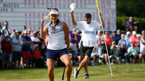 <p>               Lexi Thompson celebrates after making a putt for an eagle at the 18th hole to win the LPGA Classic golf tournament, Sunday, June 9, 2019, in Galloway, NJ. (AP Photo/Noah K. Murray)             </p>
