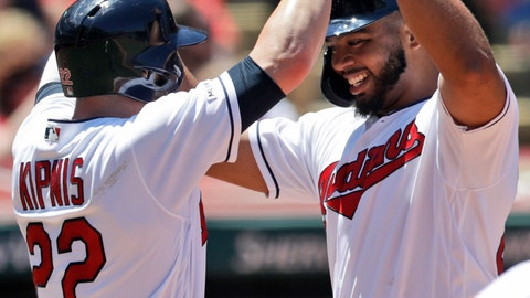 <p>               Cleveland Indians' Bobby Bradley, right, and Jason Kipnis celebrate after both score on a throwing error by Detroit Tigers' Niko Goodrum in the second inning in a baseball game, Sunday, June 23, 2019, in Cleveland. (AP Photo/Tony Dejak)             </p>