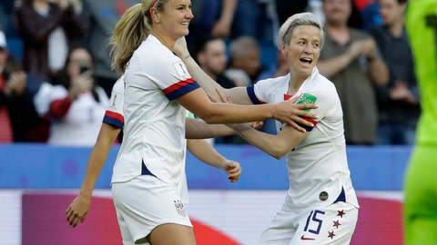 <p>               United States' Lindsey Horan, left, is congratulated by teammate Megan Rapinoe, right, after scoring her team's first goal during the Women's World Cup Group F soccer match between Sweden and the United States at Stade Océane, in Le Havre, France, Thursday, June 20, 2019. (AP Photo/Alessandra Tarantino)             </p>