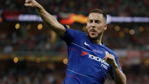 <p>               Chelsea's Eden Hazard celebrates after scoring his side's fourth goal during the Europa League Final soccer match between Arsenal and Chelsea at the Olympic stadium in Baku, Azerbaijan, Wednesday, May 29, 2019. (AP Photo/Luca Bruno)             </p>