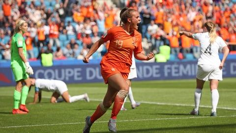 <p>               Netherlands' Jill Roord celebrates after scoring the opening goal during the Women's World Cup Group E soccer match between New Zealand and the Netherlands in Le Havre, France, Tuesday, June 11, 2019. (AP Photo/Francisco Seco)             </p>