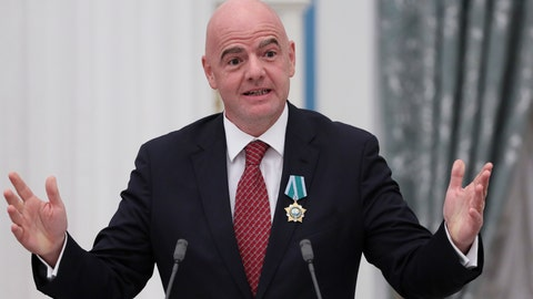 <p>               FIFA President Gianni Infantino gestures during an awarding ceremony in the Kremlin in Moscow, Russia, Thursday, May 23, 2019. Putin awarded FIFA President Gianni Infantino with the Order of Friendship and praised the World Cup that Russia hosted last year as the best ever. (Evgenia Novozhenina/Pool Photo via AP)             </p>