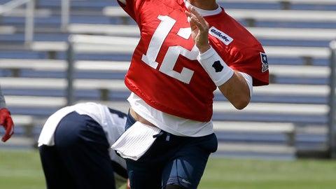 <p>               New England Patriots quarterback Tom Brady (12) delivers a pass during an NFL football training camp, Thursday, June 6, 2019, in Foxborough, Mass. (AP Photo/Steven Senne)             </p>
