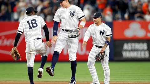<p>               New York Yankees shortstop Didi Gregorius (18) celebrates with right fielder Aaron Judge, center, and second baseman Gleyber Torres after the Yankees defeated the Houston Astros 4-1 in a baseball game Friday, June 21, 2019, in New York. (AP Photo/Kathy Willens)             </p>