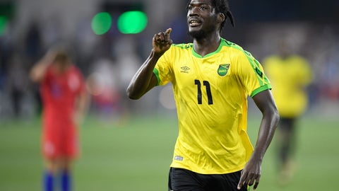 <p>               Jamaica forward Shamar Nicholson (11) celebrates his goal during the second half of the team's international friendly soccer match against the United States, Wednesday, June 5, 2019, in Washington. Jamaica won 1-0. (AP Photo/Nick Wass)             </p>