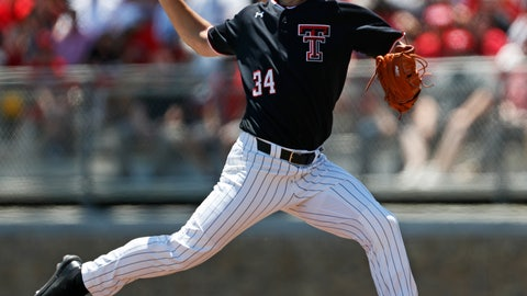 <p>               Texas Tech's Micah Dallas (34) pitches the ball during the first inning in Game 1 of an NCAA college baseball super regional tournament against Oklahoma State, Friday, June 7, 2019, in Lubbock, Texas. (AP Photo/Brad Tollefson)             </p>