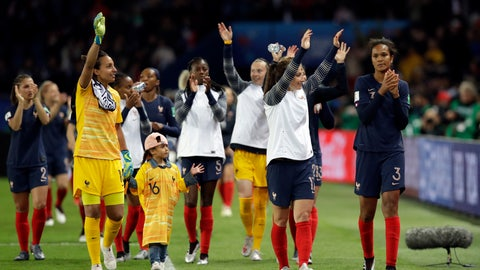 <p>               France players celebrate at the end of the Women's World Cup Group A soccer match between France and South Korea at the Parc des Princes in Paris, Friday, June 7, 2019. France won 4-0. (AP Photo/Alessandra Tarantino)             </p>