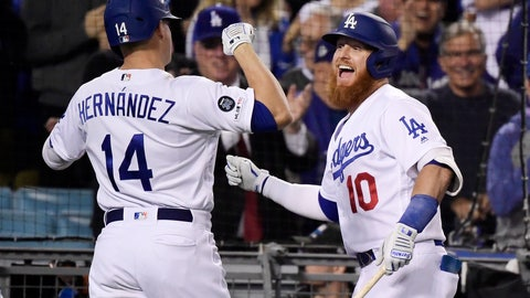 <p>               Los Angeles Dodgers' Enrique Hernandez, left, celebrates his grand slam with Justin Turner seventh inning of the team's baseball game against the San Francisco Giants on Tuesday, June 18, 2019, in Los Angeles. (AP Photo/Mark J. Terrill)             </p>