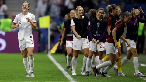 <p>               England's Lucy Bronze, left, celebrates with teammates after scoring her team's third goal during the Women's World Cup quarterfinal soccer match between Norway and England at Oceane Stadium in Le Havre, France, Thursday, June 27, 2019. (AP Photo/Alessandra Tarantino)             </p>