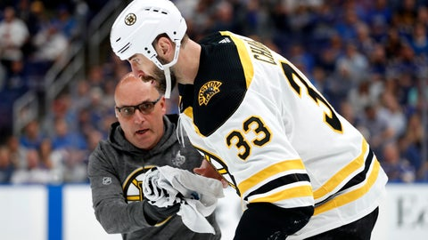 <p>               Boston Bruins defenseman Zdeno Chara (33), of Slovakia, is helped off the ice after getting hit in the face with the puck during the second period of Game 4 of the NHL hockey Stanley Cup Final against the St. Louis Blues Monday, June 3, 2019, in St. Louis. (AP Photo/Jeff Roberson)             </p>