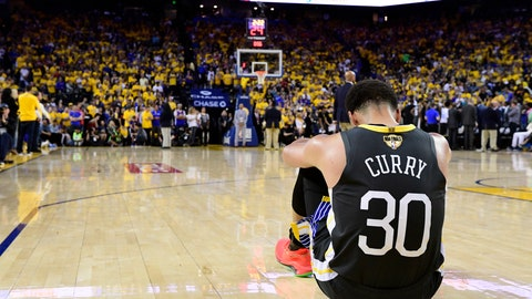 <p>               Golden State Warriors guard Stephen Curry reacts after teammate Klay Thompson was injured during the second half against the Toronto Raptors in Game 6 of basketball's NBA Finals, Thursday, June 13, 2019, in Oakland, Calif. (Frank Gunn/The Canadian Press via AP)             </p>