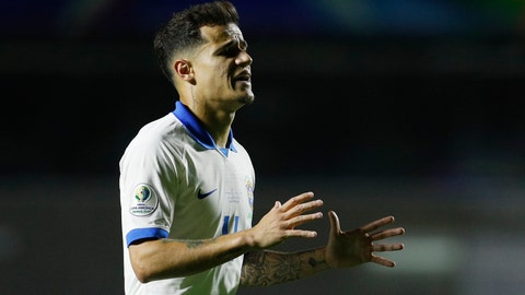 <p>               Brazil's Phlippe Coutinho celebrates scoring his side's second goal against Bolivia during a Copa America Group A soccer match at the Morumbi stadium in Sao Paulo, Brazil, Friday, June 14, 2019. (AP Photo/Victor Caivano)             </p>