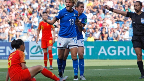 <p>               Italy's Valentina Giacinti, center, celebrates after scoring her side's first goal during the Women's World Cup round of 16 soccer match between Italy and China at Stade de la Mosson in Montpellier, France, Tuesday, June 25, 2019. (AP Photo/Claude Paris)             </p>