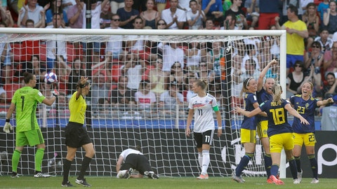 Sweden's Stina Blackstenius, 3rd right, celebrates with teammates after scoring her side's second goal during the Women's World Cup quarterfinal soccer match between Germany and Sweden at Roazhon Park in Rennes, France, Saturday, June 29, 2019. (AP Photo/Alessandra Tarantino)