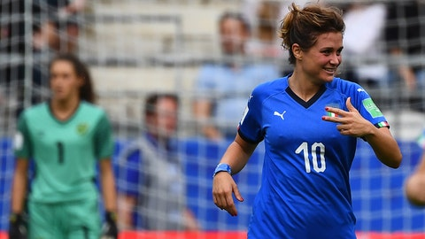 Italy's forward Cristiana Girelli celebrates after scoring her third goal during the France 2019 Women's World Cup Group C football match between Jamaica and Italy, on June 14, 2019, at the Auguste-Delaune Stadium in Reims, eastern France. (Photo by FRANCK FIFE / AFP)        (Photo credit should read FRANCK FIFE/AFP/Getty Images)
