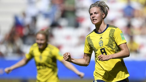 Sweden's midfielder Lina Hurtig (R) celebrates after scoring a goal during the France 2019 Women's World Cup Group F football match between Sweden and Thailand, on June 16, 2019, at the Nice Stadium in Nice, southeastern France. (Photo by CHRISTOPHE SIMON / AFP)        (Photo credit should read CHRISTOPHE SIMON/AFP/Getty Images)