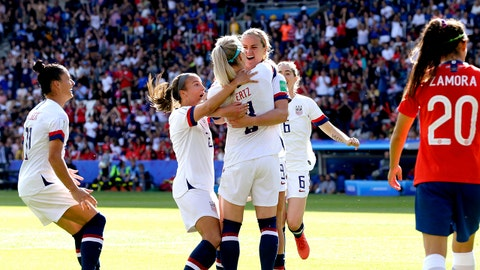PARIS, FRANCE - JUNE 16: Ali Krieger of USA Women, Tierna Davidson of USA Women, Julie Ertz of USA Women, Lindsey Horan of USA Women celebrates during the  World Cup Women  match between USA  v Chile  at the Parc des Princes on June 16, 2019 in Paris France (Photo by Eric Verhoeven/Soccrates/Getty Images)