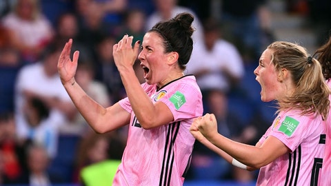 Scotland's midfielder Leanne Crichton (L) and Scotland's forward Erin Cuthbert celebrate thier team's second goal during the France 2019 Women's World Cup Group D football match between Scotland and Argentina, on June 19, 2019, at the Parc des Princes stadium in Paris. (Photo by FRANCK FIFE / AFP)        (Photo credit should read FRANCK FIFE/AFP/Getty Images)
