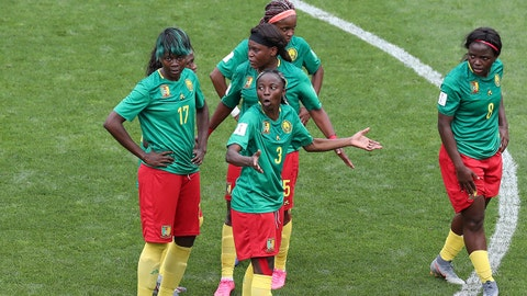 VALENCIENNES, FRANCE - JUNE 23: Ajara Nchout of Cameroon and her teammates look on in disbelief during the 2019 FIFA Women's World Cup France Round Of 16 match between England and Cameroon at Stade du Hainaut on June 23, 2019 in Valenciennes, France. (Photo by Charlotte Wilson/Offside/Offside via Getty Images)