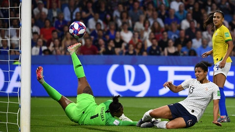 France's forward Valerie Gauvin (2ndR) scores a goal despite Brazil's goalkeeper Barbara (L) during the France 2019 Women's World Cup round of sixteen football match between France and Brazil, on June 23, 2019, at the Oceane stadium in Le Havre, north western France. (Photo by FRANCK FIFE / AFP)        (Photo credit should read FRANCK FIFE/AFP/Getty Images)