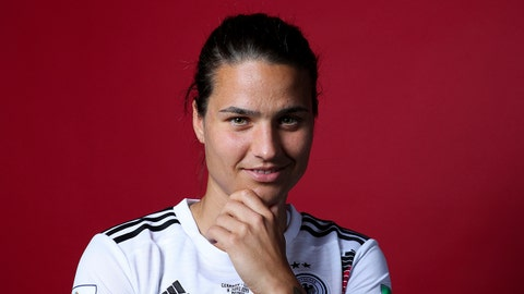 RENNES, FRANCE - JUNE 05: Dzsenifer Marozsan of Germany poses for a portrait during the official FIFA Women's World Cup 2019 portrait session at Domaine de Cice-Blossac on June 05, 2019 in Rennes, France. (Photo by Catherine Ivill - FIFA/FIFA via Getty Images)