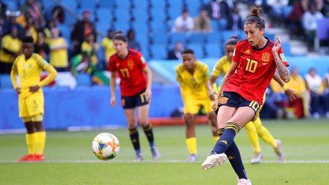 LE HAVRE, FRANCE - JUNE 08: Jennifer Hermoso of Spain scores her team's first goal during the 2019 FIFA Women's World Cup France group B match between Spain and South Africa at Stade Oceane on June 08, 2019 in Le Havre, France. (Photo by Alex Grimm/Getty Images)