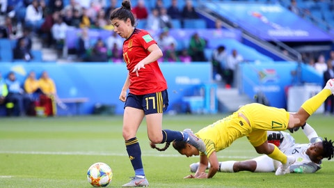 LE HAVRE, FRANCE - JUNE 08: Lucia Garcia of Spain runs with the ball past Leandra Smeda and Andile Dlamini of South Africa to score her team's third goal during the 2019 FIFA Women's World Cup France group B match between Spain and South Africa at Stade Oceane on June 08, 2019 in Le Havre, France. (Photo by Alex Grimm/Getty Images)