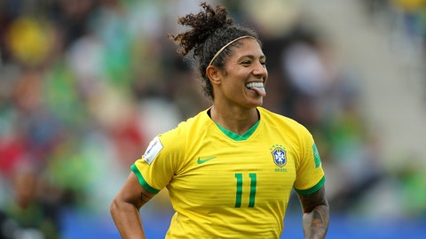 GRENOBLE, FRANCE - JUNE 09: Christiane of Brazil celebrates after scoring her team's second goal during the 2019 FIFA Women's World Cup France group C match between Brazil and Jamaica at Stade des Alpes on June 09, 2019 in Grenoble, France. (Photo by Naomi Baker - FIFA/FIFA via Getty Images)