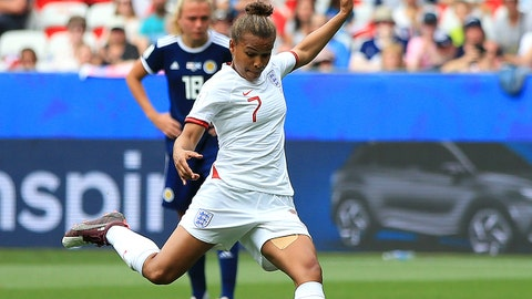 NICE, FRANCE - JUNE 09: Nikita Parris of England scores her team's first goal during the 2019 FIFA Women's World Cup France group D match between England and Scotland at Stade de Nice on June 09, 2019 in Nice, France. (Photo by Marc Atkins/Getty Images)