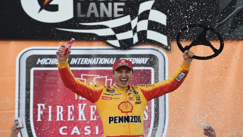 BROOKLYN, MICHIGAN - JUNE 10: Joey Logano, driver of the #22 Shell Pennzoil Ford, celebrates in Victory Lane after winning the Monster Energy NASCAR Cup Series FireKeepers Casino 400 at Michigan International Speedway on June 10, 2019 in Brooklyn, Michigan. (Photo by Logan Riely/Getty Images)