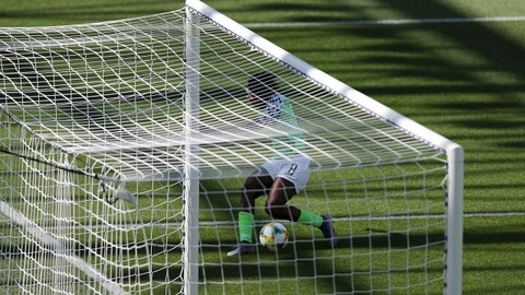 GRENOBLE, FRANCE - JUNE 12: Asisat Oshoala of Nigeria scores her team's second goal during the 2019 FIFA Women's World Cup France group A match between Nigeria and Korea Republic at Stade des Alpes on June 12, 2019 in Grenoble, France. (Photo by Naomi Baker - FIFA/FIFA via Getty Images)