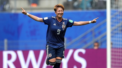 RENNES, FRANCE - JUNE 14: Yuki Sugasawa of Japan celebrates after scoring her team's second goal during the 2019 FIFA Women's World Cup France group D match between Japan and Scotland at Roazhon Park on June 14, 2019 in Rennes, France. (Photo by Catherine Ivill - FIFA/FIFA via Getty Images)