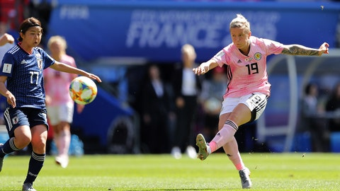 RENNES, FRANCE - JUNE 14: Lana Clelland of Scotland scores her team's first goal during the 2019 FIFA Women's World Cup France group D match between Japan and Scotland at Roazhon Park on June 14, 2019 in Rennes, France. (Photo by Richard Heathcote/Getty Images)