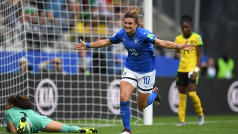 REIMS, FRANCE - JUNE 14: Cristiana Girelli of Italy celebrates after scoring her team's second goal during the 2019 FIFA Women's World Cup France group C match between Jamaica and Italy at Stade Auguste Delaune on June 14, 2019 in Reims, France. (Photo by Alex Caparros - FIFA/FIFA via Getty Images)