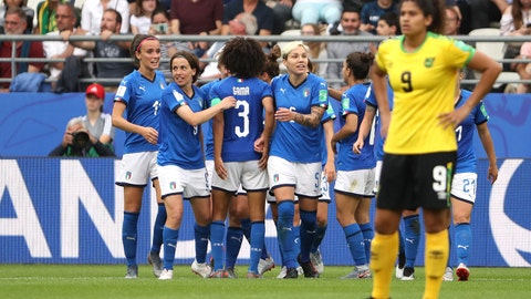 REIMS, FRANCE - JUNE 14: Aurora Galli of Italy celebrates with teammates after scoring her team's fifth goal during the 2019 FIFA Women's World Cup France group C match between Jamaica and Italy at Stade Auguste Delaune on June 14, 2019 in Reims, France. (Photo by Robert Cianflone/Getty Images)