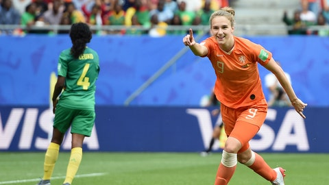 VALENCIENNES, FRANCE - JUNE 15: Vivianne Miedema of the Netherlands celebrates after scoring her team's third goal during the 2019 FIFA Women's World Cup France group E match between Netherlands and Cameroon at Stade du Hainaut on June 15, 2019 in Valenciennes, France. (Photo by Alex Caparros - FIFA/FIFA via Getty Images)