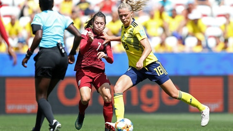 NICE, FRANCE - JUNE 16: Fridolina Rolfo of Sweden scores her team's third goal during the 2019 FIFA Women's World Cup France group F match between Sweden and Thailand at Stade de Nice on June 16, 2019 in Nice, France. (Photo by Hannah Peters - FIFA/FIFA via Getty Images)