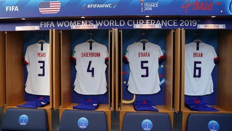 PARIS, FRANCE - JUNE 16: General view inside the USA changing room prior to the 2019 FIFA Women's World Cup France group F match between USA and Chile at Parc des Princes on June 16, 2019 in Paris, France. (Photo by Catherine Ivill - FIFA/FIFA via Getty Images)