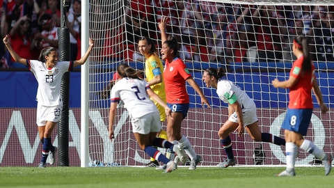 PARIS, FRANCE - JUNE 16: Carli Lloyd of the USA celebrates after scoring her team's third goal during the 2019 FIFA Women's World Cup France group F match between USA and Chile at Parc des Princes on June 16, 2019 in Paris, France. (Photo by Richard Heathcote/Getty Images)