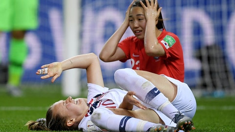REIMS, FRANCE - JUNE 17: Caroline Graham Hansen of Norway goes down injured after being fouled by Chaerim Kang of Korea Republic inside the penalty area which leads to Norway being awarded a penalty during the 2019 FIFA Women's World Cup France group A match between Korea Republic and Norway at Stade Auguste Delaune on June 17, 2019 in Reims, France. (Photo by Alex Caparros - FIFA/FIFA via Getty Images)