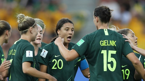 GRENOBLE, FRANCE - JUNE 18: Sam Kerr of Australia celebrates with teammates after scoring her team's first goal during the 2019 FIFA Women's World Cup France group C match between Jamaica and Australia at Stade des Alpes on June 18, 2019 in Grenoble, France. (Photo by Naomi Baker - FIFA/FIFA via Getty Images)