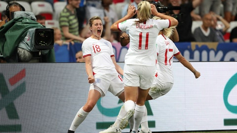 NICE, FRANCE - JUNE 19: Ellen White of England celebrates after scoring her team's first goal during the 2019 FIFA Women's World Cup France group D match between Japan and England at Stade de Nice on June 19, 2019 in Nice, France. (Photo by Hannah Peters - FIFA/FIFA via Getty Images)