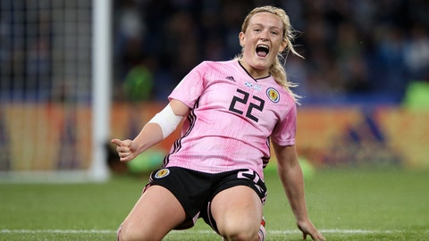 PARIS, FRANCE - JUNE 19: Erin Cuthbert of Scotland celebrates after scoring her team's third goal during the 2019 FIFA Women's World Cup France group D match between Scotland and Argentina at Parc des Princes on June 19, 2019 in Paris, France. (Photo by Cathrin Mueller - FIFA/FIFA via Getty Images)