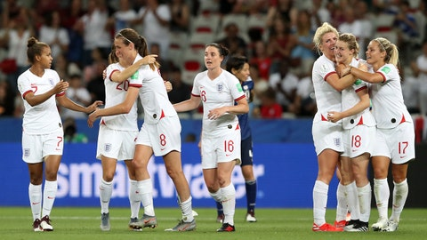 NICE, FRANCE - JUNE 19: Ellen White of England celebrates with teammates after scoring her team's second goal during the 2019 FIFA Women's World Cup France group D match between Japan and England at Stade de Nice on June 19, 2019 in Nice, France. (Photo by Hannah Peters - FIFA/FIFA via Getty Images)