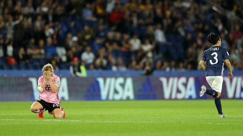 PARIS, FRANCE - JUNE 19: Erin Cuthbert of Scotland looks dejected as a penalty is awarded during the 2019 FIFA Women's World Cup France group D match between Scotland and Argentina at Parc des Princes on June 19, 2019 in Paris, France. (Photo by Richard Heathcote - FIFA/FIFA via Getty Images)