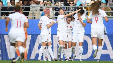 REIMS, FRANCE - JUNE 20: Christine Sinclair of Canada celebrates with teammates after scoring her team's first goal during the 2019 FIFA Women's World Cup France group E match between Netherlands and Canada at Stade Auguste Delaune on June 20, 2019 in Reims, France. (Photo by Alex Caparros - FIFA/FIFA via Getty Images)