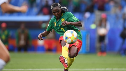 MONTPELLIER, FRANCE - JUNE 20: Ajara Nchout of Cameroon scores her team's second goal during the 2019 FIFA Women's World Cup France group E match between Cameroon and New Zealand at Stade de la Mosson on June 20, 2019 in Montpellier, France. (Photo by Laurence Griffiths/Getty Images)