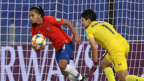 RENNES, FRANCE - JUNE 20: Francisca Lara of Chile takes the ball out of the net following their team's first goal, an own goal scored by Waraporn Boonsing of Thailand during the 2019 FIFA Women's World Cup France group F match between Thailand and Chile at Roazhon Park on June 20, 2019 in Rennes, France. (Photo by Catherine Ivill - FIFA/FIFA via Getty Images)